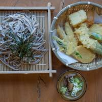 Fresh vegetable tempura and cold soba noodles are served at the village's only restaurant. | STEPHEN MANSFIELD