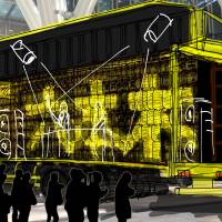 Art on wheels: An artist's rendition of the 'Hal' truck from 'Art Truck Project 'Hal' 'Akebono' ' by the Daito Manabe-led creative collective Rhizomatiks shows how the mobile platform will look as it makes stops at various places during Roppongi Art Night.