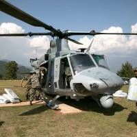 Marine chopper with eight aboard missing in Nepal quake zone; crew talked of 'fuel issues'