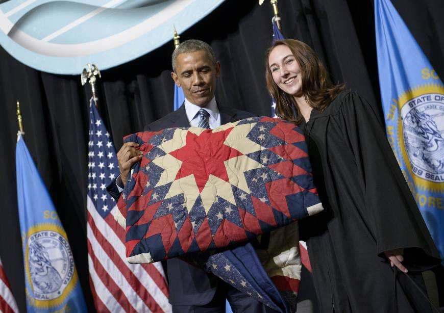 Obama completes 50-state sweep with visit to South Dakota