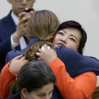 United States Ambassador to the United Nations Samantha Power hugs North Korean defector Kim Jay Jo after a panel discussion on North Korean human rights abuses at United Nations headquarters Thursday.   AP