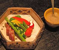 Italian influences: Matsubara-an's cold version of bagna cauda includes a colorful array of local vegetables. | ROBBIE SWINNERTON