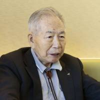 Former Imperial Japanese Navy pilot Takehiko Ena is interviewed in Kawasaki in October 2014. | KYODO