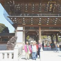 Visitors are accompanied by a Narita Transit Program volunteer guide at Naritasan Shinshoji Temple in Narita, Chiba Prefecture, in March. Narita International Airport Corp. | KYODO