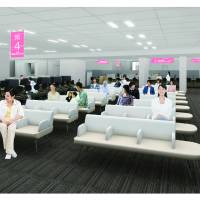 Toshima Ward residents used to have to visit different buildings to seek the services they needed. As this sketch shows, the new Toshima Ward Office will have a reception desk that handles residents' various needs. | COURTESY OF TOSHIMA WARD OFFICE