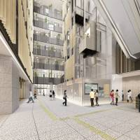A drawing depicts a spacious atrium with high ceilings in the new Toshima Ward Office building, which opens Thursday. | TOSHIMA WARD OFFICE