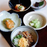 Monk food: (Clockwise from left) Nasu dengaku (fried eggplant with sweet miso), tofu, red-bean paste dessert, shirotama zunda ae (rice dumplings with soybean paste) and cold buckwheat noodles with toppings. | LUUVU HOANG