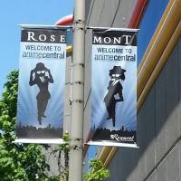 Animated welcome: Banners promote the Anime Central (ACen) event in Rosemont, near Chicago.  | MIDWEST ANIMATION PROMOTION SOCIETY