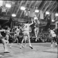 Going way back: A young Julius Erving (6) heads to the boards for the United States in a game against Estonia in 1970 as part of a U.S. Olympic development team tour of Europe.   GUNNAR VAIDLA/ESTONIAN SPORTS MUSEUM