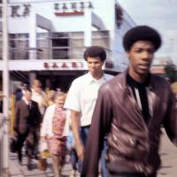 Young and determined: Julius Erving (right) and teammate Bob Nash take in the sights in Estonia during the 1970 tour.   HERB MOLS