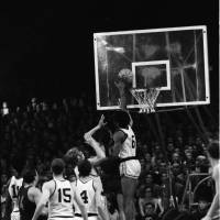 Last line of defense: Team USA's Julius Erving (6) rejects an Estonian player's shot in during the U.S. Olympic development team's European tour in the summer of 1970. Erving was named an All-Star 16 times during his combined ABA and NBA career.   GUNNAR VAIDLA/ESTONIAN SPORTS MUSEUM