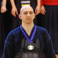 Last games: On his decision to retire from the world championships after 16 years of practice, Stuart Gibson says, 'To deepen my kendo, I have to be able to experiment, and that means getting hit,' something he says he cannot afford to do while fighting under the weight of the flag.  | COURTESY OF STUART GIBSON