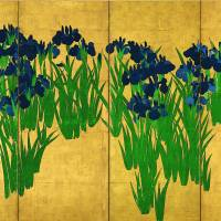 Right side panel of the National Treasure 'Irises' (18th century) by Ogata Korin Nezu Museum