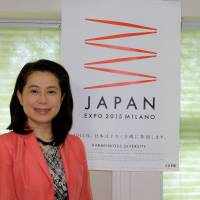 Japanese sake stylist Makiko Tejima poses during a recent interview with The Japan Times in her office in Tokyo. | SATOKO KAWASAKI