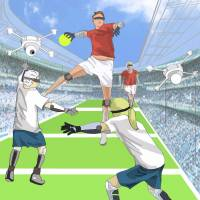"A rendering shows how people might play ""Super Human Handball,"" with wearable devices expanding their physical abilities while drones feed them third-person views of the game. 