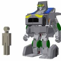 Asratec and Brave Robotics are developing a robot called the J-deite Ride that can transform into a humanoid and a car. The figure on the left shows the height of a regular person. | COURTESY OF PROJECT J-DEITE