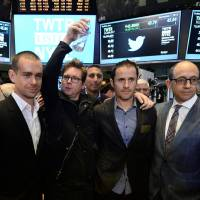 Twitter co-founders (from left) Jack Dorsey, Christopher Isaac 'Biz' Stone, Evan Williams and Twitter CEO Richard 'Dick' Costolo pose for a photo on the trading floor of the New York Stock Exchange  in this November 2013 file photo in New York. Costolo is stepping down and will be replaced on an interim basis by co-founder Dorsey, effective July 1. | AFP-JIJI