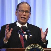 Philippine President Benigno Aquino delivers a keynote speech at a special session of the International Conference on The Future of Asia in Tokyo on Wednesday. | AP