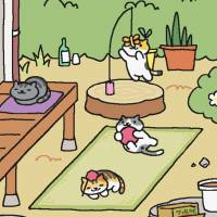 The cat-collecting smartphone game 'Neko Atsume,' shown in this screen shot, is gaining fans around the world. | HIT-POINT CO.