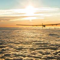 Solar Impulse 2, seen in this photo posted to the Solar Impulse Twitter account @solarimpulse, was to land in Nagoya, organizers said Monday, after bad weather delayed a landmark attempt by the solar-powered plane to cross the Pacific Ocean without a drop of fuel.