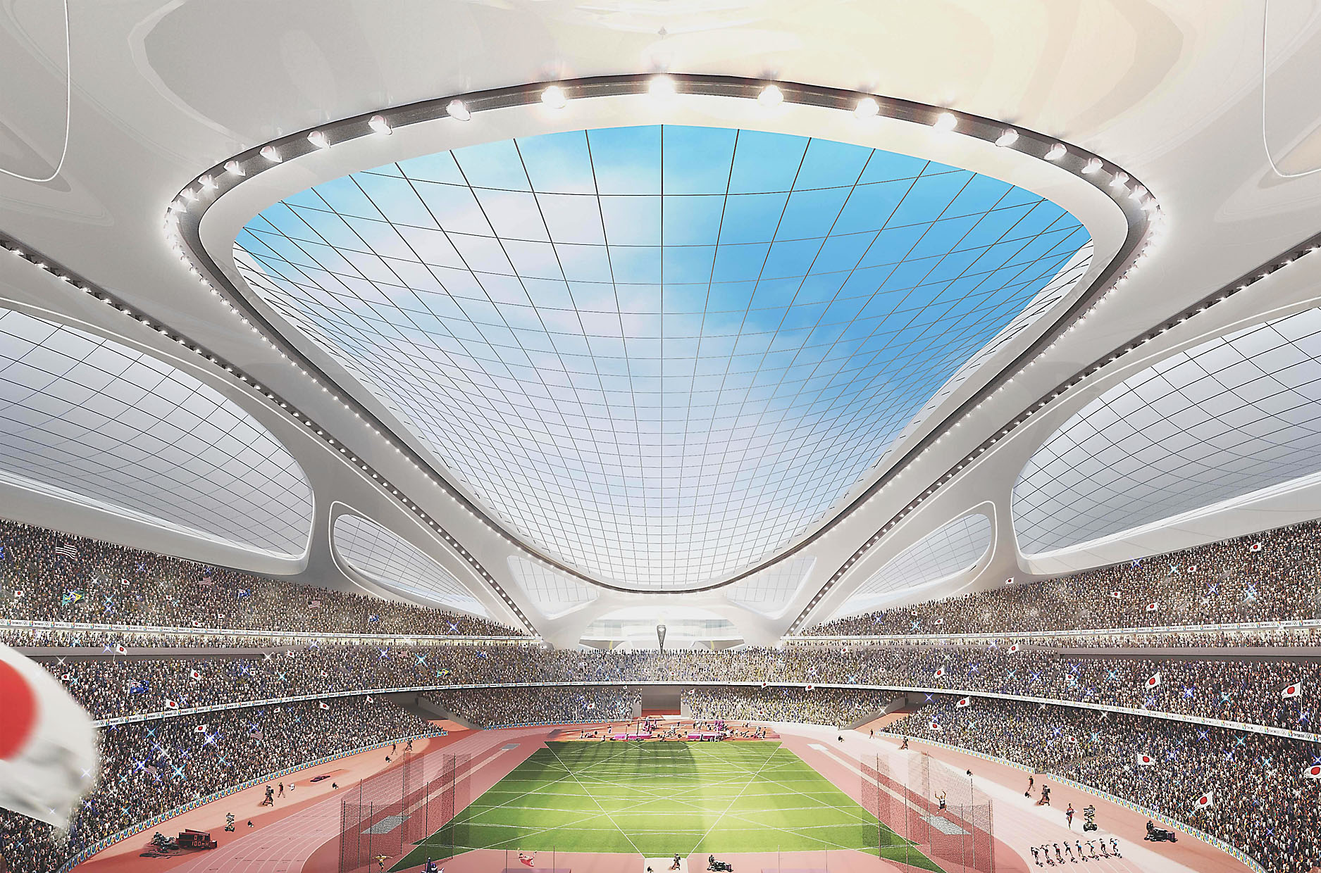 This rendering shows how the new National Stadium is intended to look. It is expected to be the central venue of the 2020 Tokyo Olympics.   AP