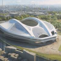 The new National Stadium, seen in this rendering, is scheduled to be built by spring 2019.   COURTESY OF JAPAN SPORT COUNCIL/KYODO