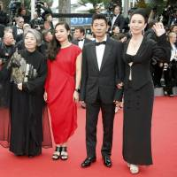 Cannes crew: (From left to right) Durian Sukegawa, Kirin Kiki, Kyara Uchida, Masatoshi Nagase and Naomi Kawase attend the premiere of 'An' during the 68th annual Cannes Film Festival in France last month. | © KYODO / REUTERS