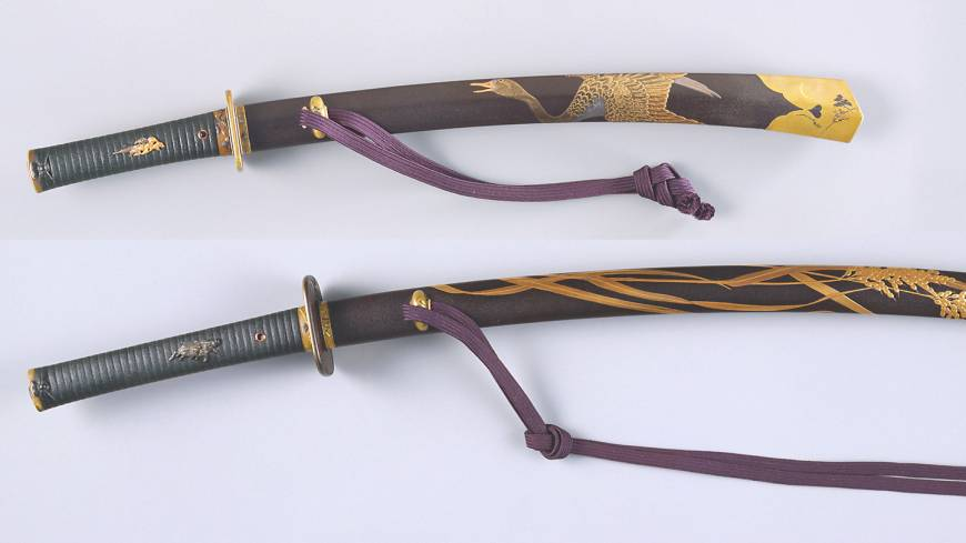 A pair of 18th-century hunting scabbards are decorated with ears of rice and wild geese motifs. | NEZU MUSEUM
