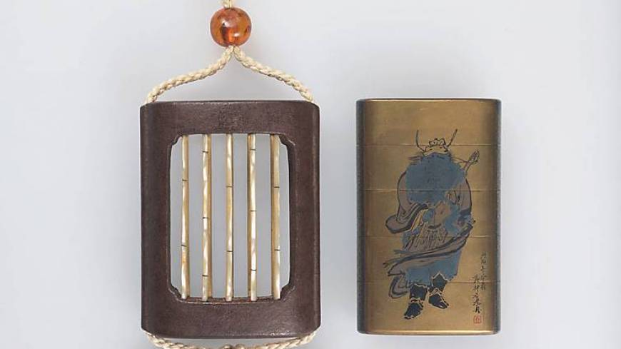 A 19th-century inro¯ pill box (right) and its case, by Shibata Zeshin, depict the legend of 'Zhong Kui the Demon Queller.' (N.b. the pill box is displayed inside its case at the exhibition.) | NEZU MUSEUM