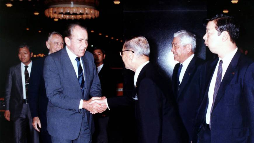 Politician's hideaway: Former U.S. President Richard Nixon is greeted at Hotel Okura Tokyo in 1982. Several American presidents have stayed at the hotel over the years, as it is conveniently located across the road from the U.S. Embassy. | COURTESY OF HOTEL OKURA TOKYO