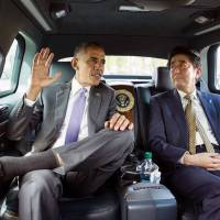 Share and share alike: U.S. President Barack Obama and Prime Minister Shinzo Abe meet in the United States earlier this year. The two leaders have often spoke of shared values when it comes to their countries. | KYODO / REUTERS