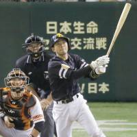 The Hawks' Takashi Hosoyamada hits a two-run double in the fourth inning against the Giants at Tokyo Dome on Friday night. Fukuoka Softbank defeated Yomiuri 8-4. | KYODO
