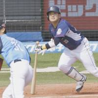 Young slugger Tomoya Mori has been playing at a high level for the Lions this season. | KYODO