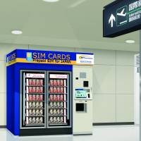 SIM card vending machines targeting inbound tourists will start operating at Narita International Airport, Chiba Prefecture, next Friday. Two machines will be available — at the airport's Terminal 1 and Terminal 2 buildings. | NTT COMMUNICATIONS CORP.