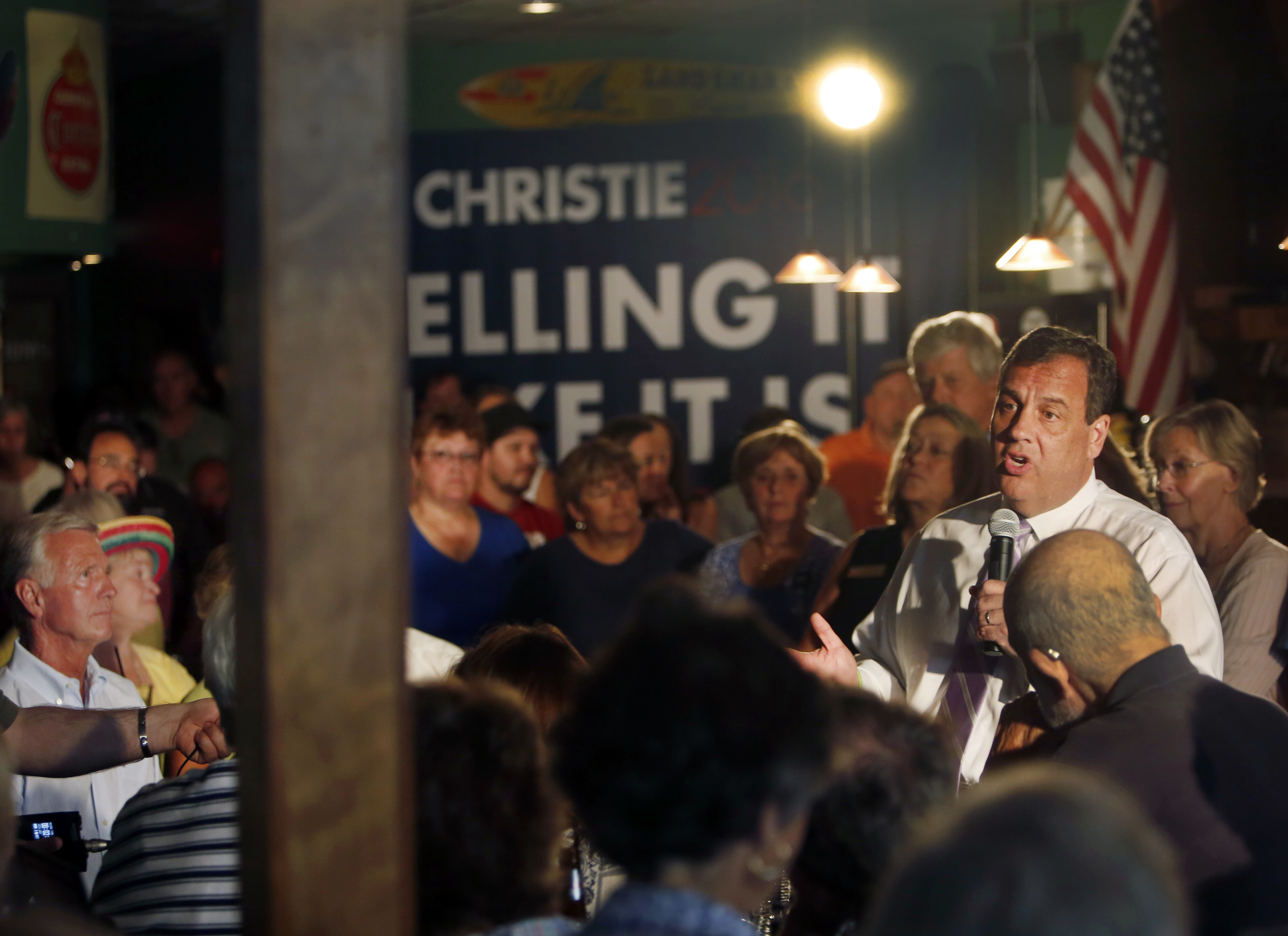 Republican presidential candidate New Jersey Gov. Chris Christie speaks during a town hall meeting Monday in Keene, New Hampshire, where he warned that he would work to reverse the legalization of pot in those states where it is OK to toke up.   AP