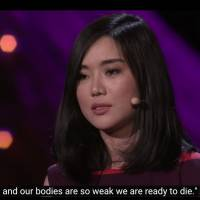 This screenshot shows Hyeonseo Lee speaking about her experiences in North Korea in a Ted Talk given in March 2013.