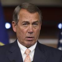 House Speaker John Boehner of Ohio speaks July 9 with reporters on Capitol Hill. The searing political conflict over abortion flared anew Wednesday as congressional Republicans said they will investigate whether Planned Parenthood is selling organs from aborted fetuses. Boehner called for committees to examine the matter and said President Barack Obama should condemn and end the practice. | AP