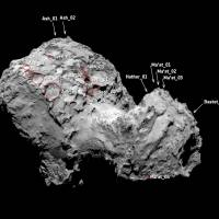 Pits on the surface of Comet 67P/Churyumov–Gerasimenko's northern hemisphere are pictured in this August 2014 handout photo obtained by Reuters Wednesday. The comet being studied by Europe's Rosetta spacecraft has massive sinkholes in its surface that are nearly wide enough to swallow Egypt's Great Pyramid of Giza, research published on Wednesday shows. | REUTERS / EUROPEAN SPACE AGENCY / HANDOUT VIA REUTERS