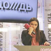 Natalia Sindeyeva, director of Russian television station Dozhd, addresses reporters in Moscow on Feb. 4. | REUTERS