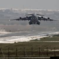 In this Sept. 1, 2013, file photo, a U.S. Air Force plane takes off from the Incirlik airbase in southern Turkey. Turkey has agreed to let the U.S. military use the key air base near the border with Syria to launch airstrikes against the Islamic State, senior Obama administration officials said Thursday, giving a boost to the U.S.-led coalition amid a surge of violence in Turkey blamed on IS-linked militants. | AP