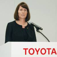 Former Toyota Motor Corp. executive Julie Hamp speaks at a news conference at the firm's head office in Toyota, Aichi Prefecture, on June 17, a day before she was arrested. | KYODO