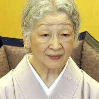 Empress Michiko,80, seen in an undated photo, has shown possible symptoms of coronary artery obstruction, the Imperial Household Agency said on Wednesday. | KYODO