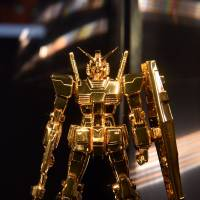 Gold Gundam replica highlights extensive exhibition on famed series
