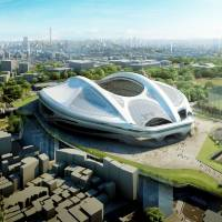 An artist's rendition shows architect Zaha Hadid's design for the new National Stadium for the 2020 Olympic Games in Tokyo. It was reported on Wednesday that the Japanese bureaucrat heading the construction of the 2020 Olympic stadium is quitting his post after Tokyo ordered design plans for the venue to be ditched amid public anger over its $2 billion price tag. | AFP-JIJI