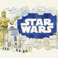 A preliminary sketch for a 'Star Wars' float for the Aomori Nebuta Matsuri Festival depicts C-3PO and R2-D2. | © LUCASFILM LTD. & TM. ALL RIGHTS RESERVED / KYODO
