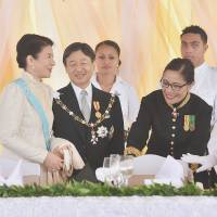 Crown Prince Naruhito and Crown Princess Masako chat with Tonga's Princess Pilolevu in Nuku'alofa on Saturday. | POOL / KYODO