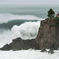 The coastline near the city of Kochi is battered as Typhoon Nangka approached on Thursday packing winds of up to 144 kph.   KYODO