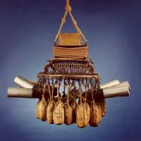 A balloon bomb 'chandelier' is displayed at the Canadian War Museum in Ottawa.   CWM 19460001-001 / CANADIAN WAR MUSEUM