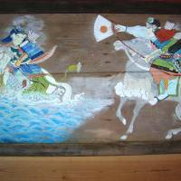 Wood-panel paintings decorate Yahata Shrine near Yuki town in Hiroshima Prefecture. | ANGELES MARIN CABELLO