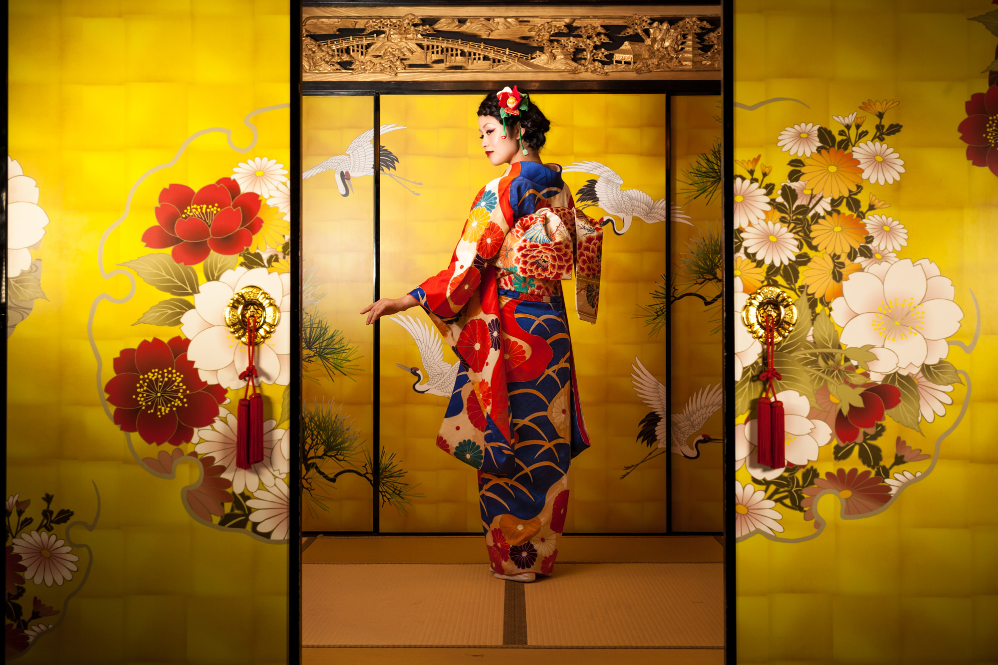 An opulent furisode kimono typically worn for Coming of Age day in Japan. | SEBASTIEN LEBEGUE/PRESTEL PUBLISHING
